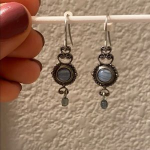 LUCKY BRAND blue stone dangle earrings